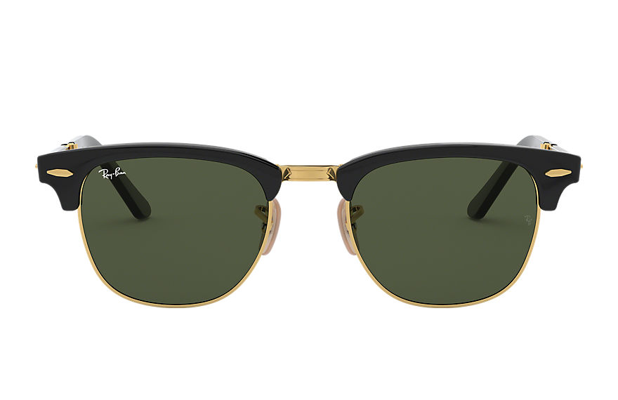 Ray-Ban Sunglasses Clubmaster Folding Black with Green Classic G-15 lens