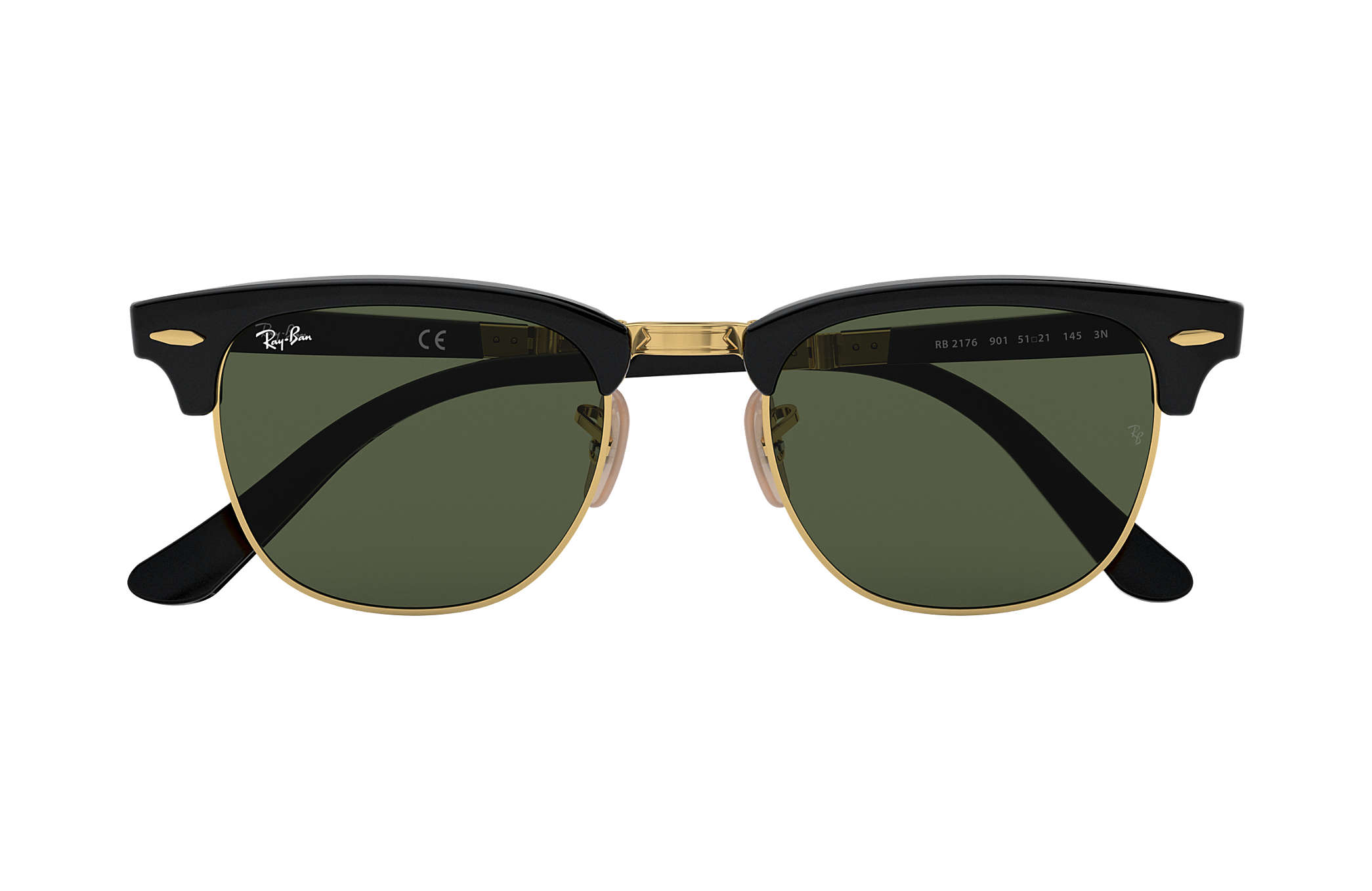 8d38a41cd Ray-Ban Clubmaster Folding RB2176 Black - Acetate - Green Lenses ...