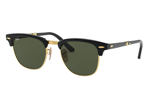 417455a7662 Ray-Ban Clubmaster Folding RB2176 Black - Acetate - Green Lenses ...