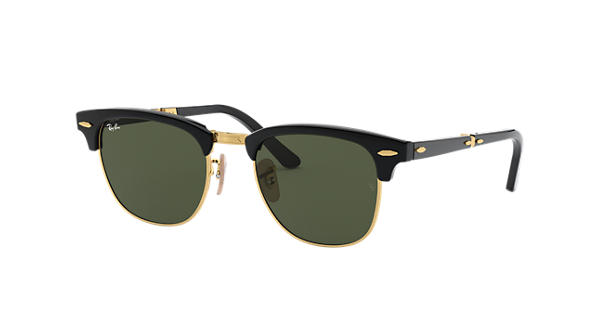 a3d57426616 Ray-Ban Clubmaster Folding RB2176 Black - Acetate - Green Lenses -  0RB217690151