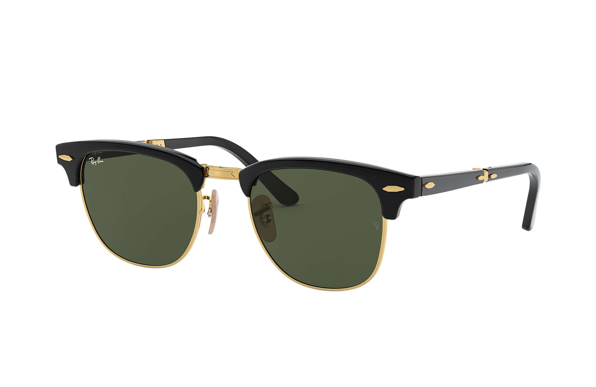 a8d4049e87af1 Ray-Ban Clubmaster Folding RB2176 Black - Acetate - Green Lenses ...
