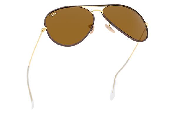 RAY BAN RB3025JM Aviator Full Color Metal Sunglasses, GoldGreen, 58 mm