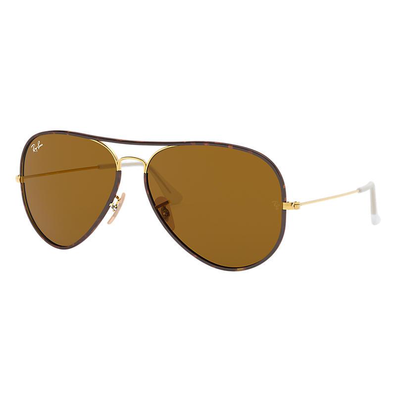 Ray-Ban Men's Aviator Full Color Gold Sunglasses, Brown Lenses - Rb3025jm