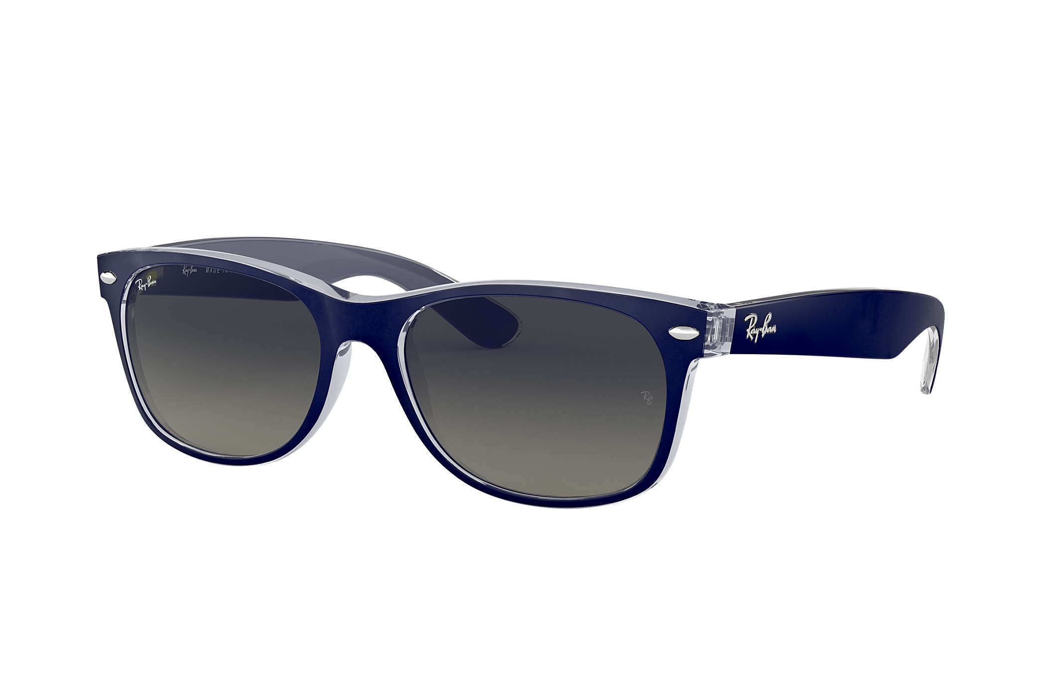 07af7e22eda55 Ray-Ban New Wayfarer Color Mix RB2132 Azul - Nylon - Lentes Cinzento ...