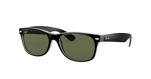 cb7e08cf7ee Ray-Ban New Wayfarer Color Mix RB2132 Black - Nylon - Green Lenses -  0RB2132605255