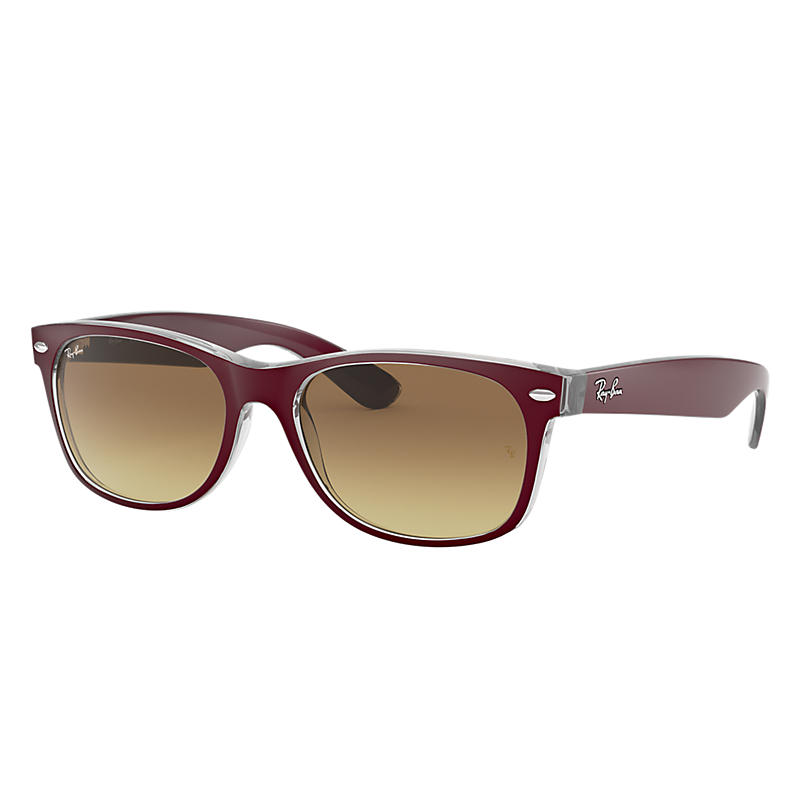 Ray Ban New wayfarer color mix Unisex Sunglasses Verres: Marron, Monture: Bordeaux - RB2132 605485 5