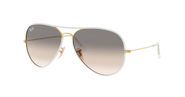 ee9ec1be202 Ray-Ban Aviator Full Color RB3025JM White - Metal - Light Grey Lenses -  0RB3025JM146 3258
