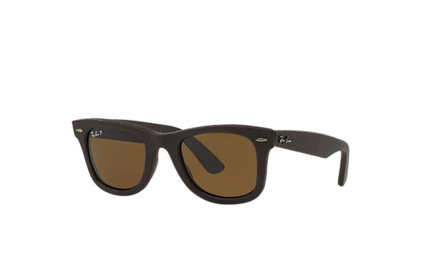 87580406f7 Ray-Ban Wayfarer Leather RB2140QM Brown - Premium materials - Brown ...