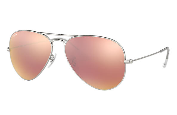 Ray-Ban 0RB3025-AVIATOR FLASH LENSES Silber SUN