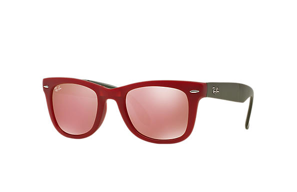 Ray-Ban 0RB4105-WAYFARER FOLDING FLASH LENSES Red; Green SUN