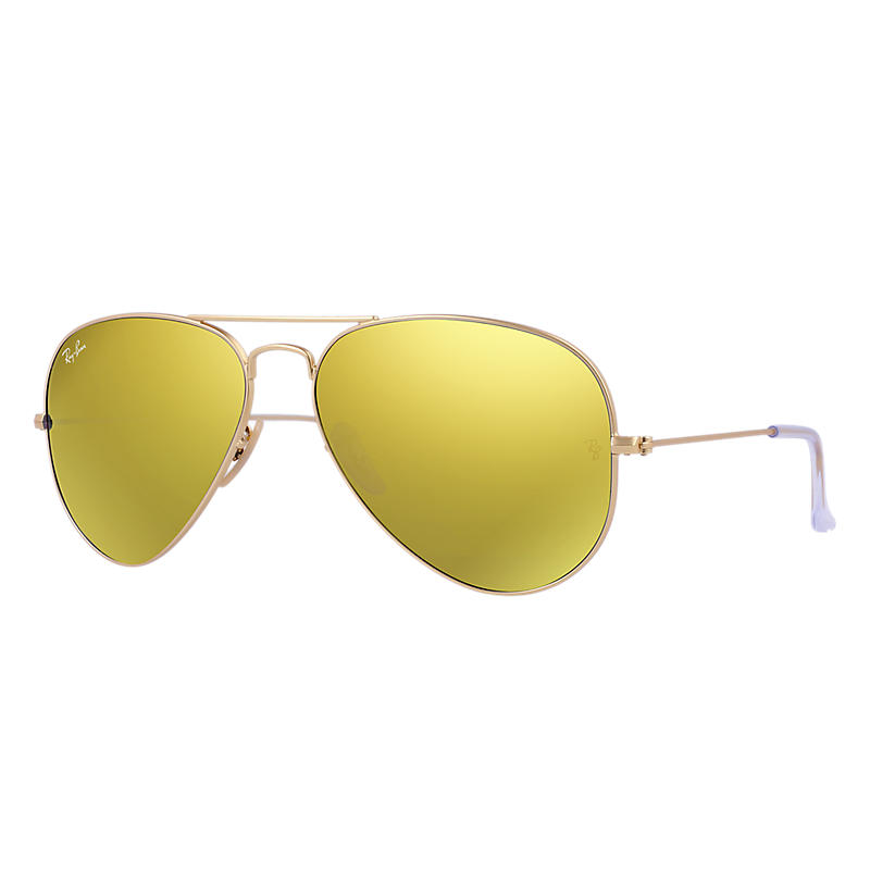 Ray Ban Aviator flash lenses Unisex Sunglasses Verres: Jaune, Monture: Or - RB3025 112/93 58-14