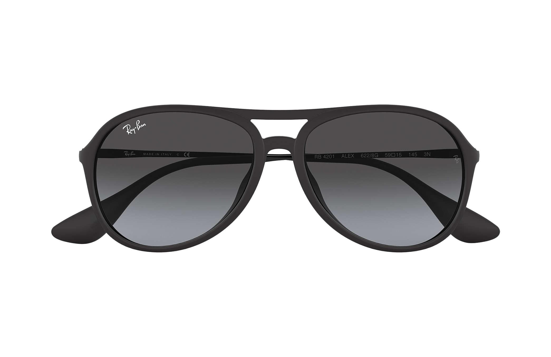 a347bb9e0a9 Ray-Ban Alex RB4201 Black - Nylon - Grey Lenses - 0RB4201622 8G59 ...