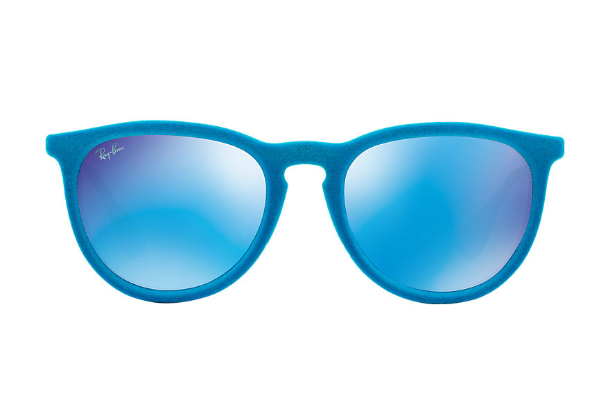 Ray-Ban Sunglasses ERIKA VELVET Light Blue Velvet with Blue Mirror lens