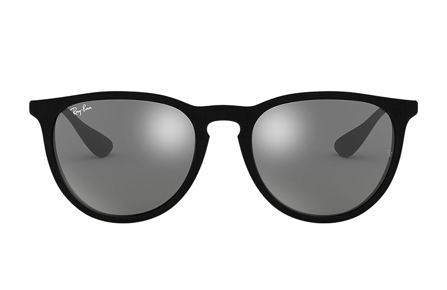 Ray-Ban Sunglasses ERIKA VELVET LOW BRIDGE FIT Black Velvet with Grey Mirror lens