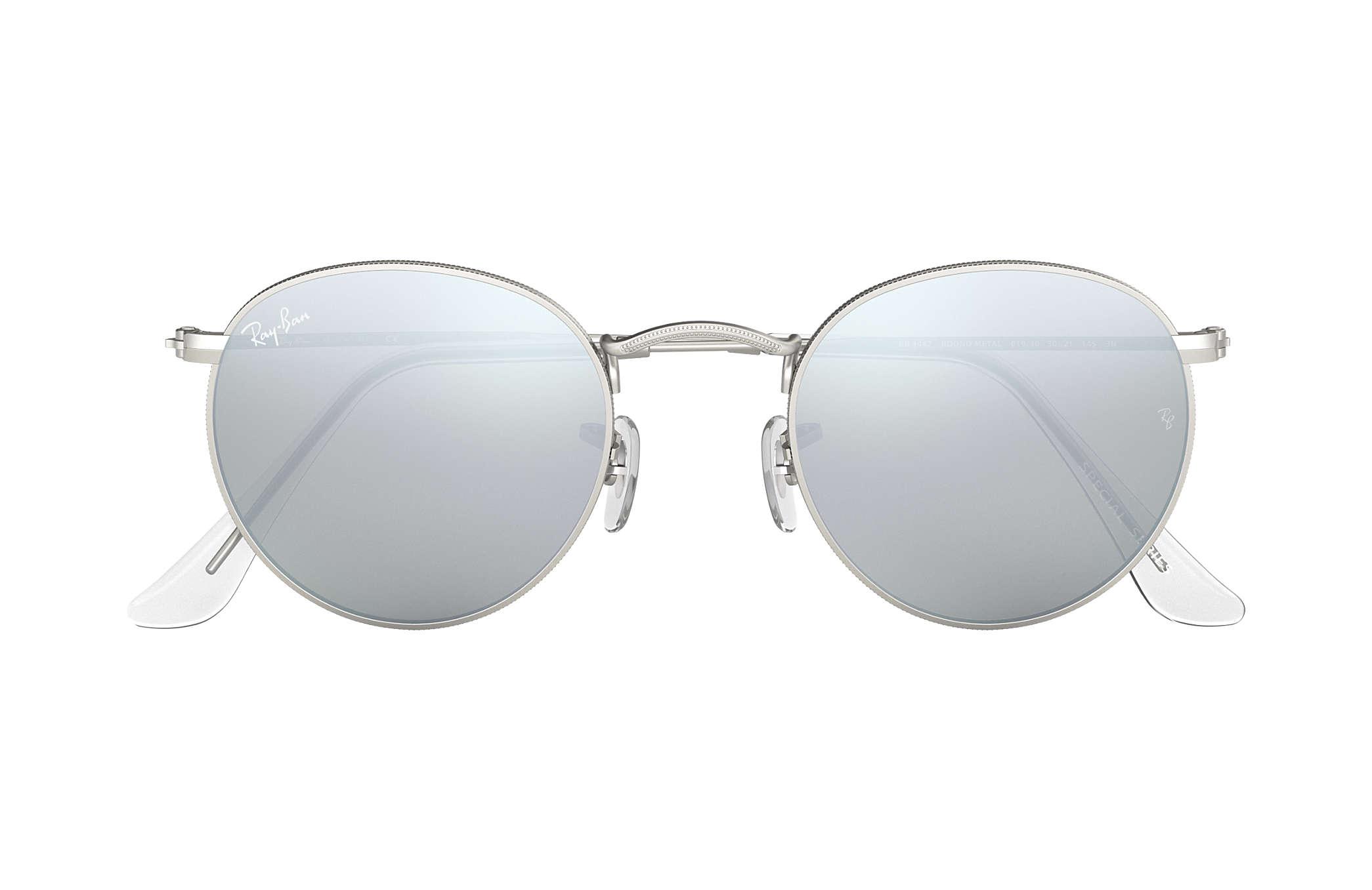 0e044cdf55b Ray-Ban Round Flash Lenses RB3447 Silver - Metal - Silver Lenses ...