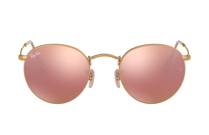 Ray-Ban ROUND FLASH LENSES Mattes Gold mit Kupfer Flash Gläsern