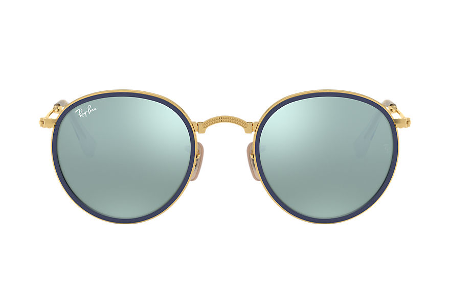 Ray-Ban ROUND FOLDING Goud met brillenglas Zilver Flash