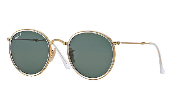 Ray-Ban Round Folding RB3517 Gold - Metal - Silver Lenses ... 1730a0bbd7