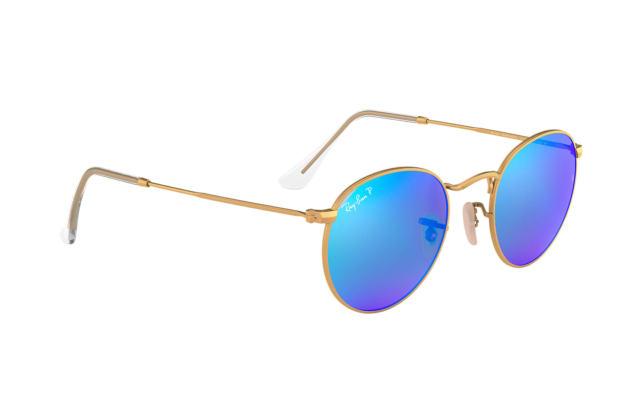 21d9a2cef Ray-Ban Round Flash Lenses RB3447 Gold - Metal - Blue Polarized ...