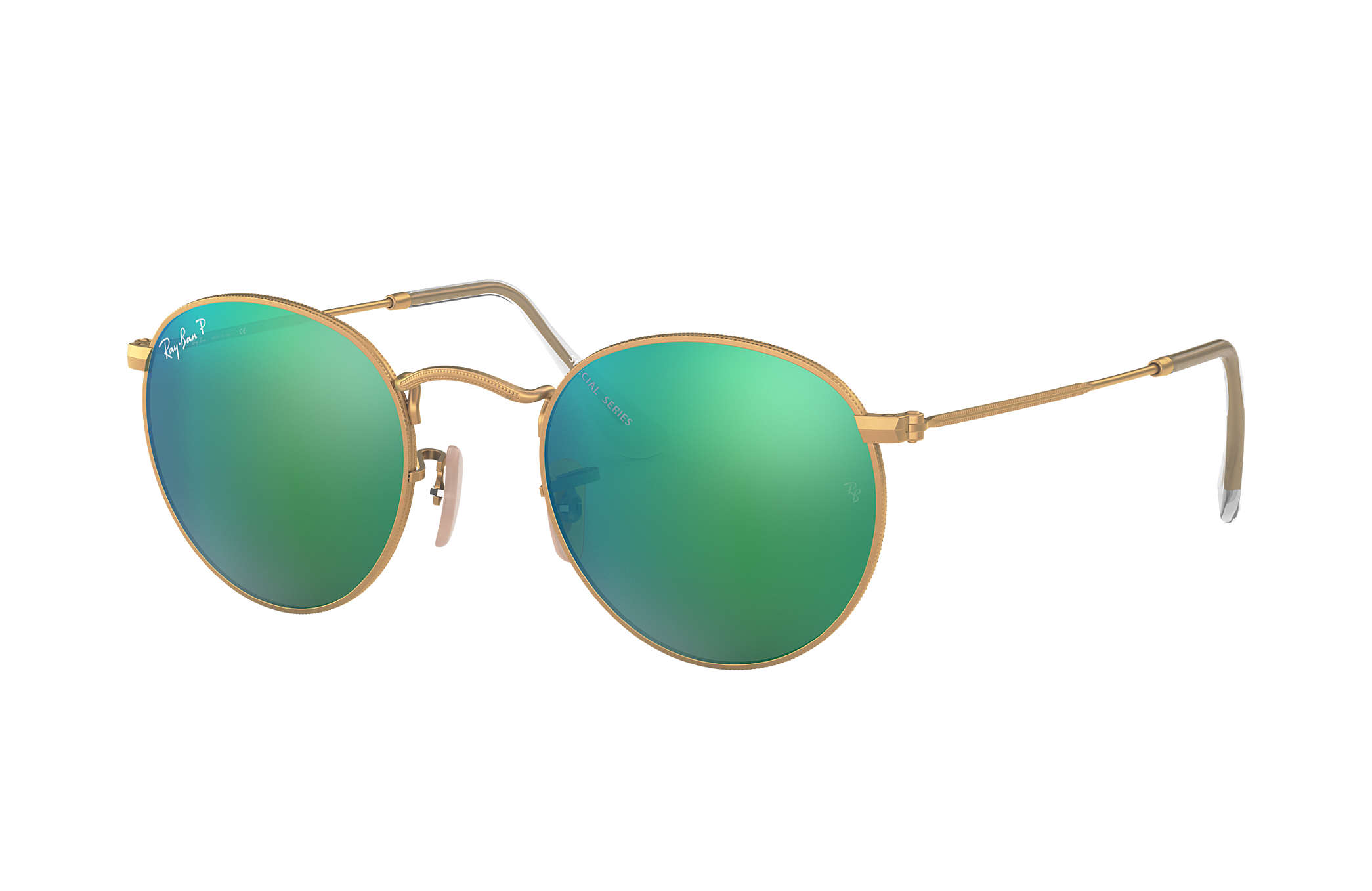 eafc5e40c6 Ray-Ban Round Flash Lenses RB3447 Gold - Metal - Green Polarized ...