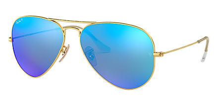 1c9bc26bb1c08 Ray-Ban AVIATOR ESPELHADO Ouro com Azul Brilhante lentes