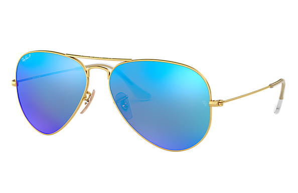 94233d8838f0 Ray-Ban Aviator Flash Lenses RB3025 Gold - Metal - Blue Polarized ...