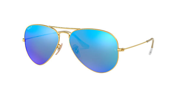 54ffb0c7cb Ray-Ban Aviator Flash Lenses RB3025 Gold - Metal - Blue Polarized Lenses -  0RB3025112 4L58