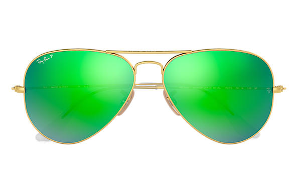 c3972f1bbfabe Ray-Ban Aviator Flash Lenses RB3025 Gold - Metal - Green Polarized ...