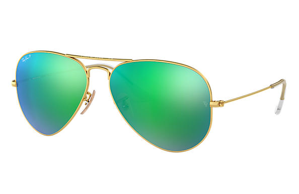 5116b273a Ray-Ban Aviator Flash Lenses RB3025 Gold - Metal - Green Polarized ...