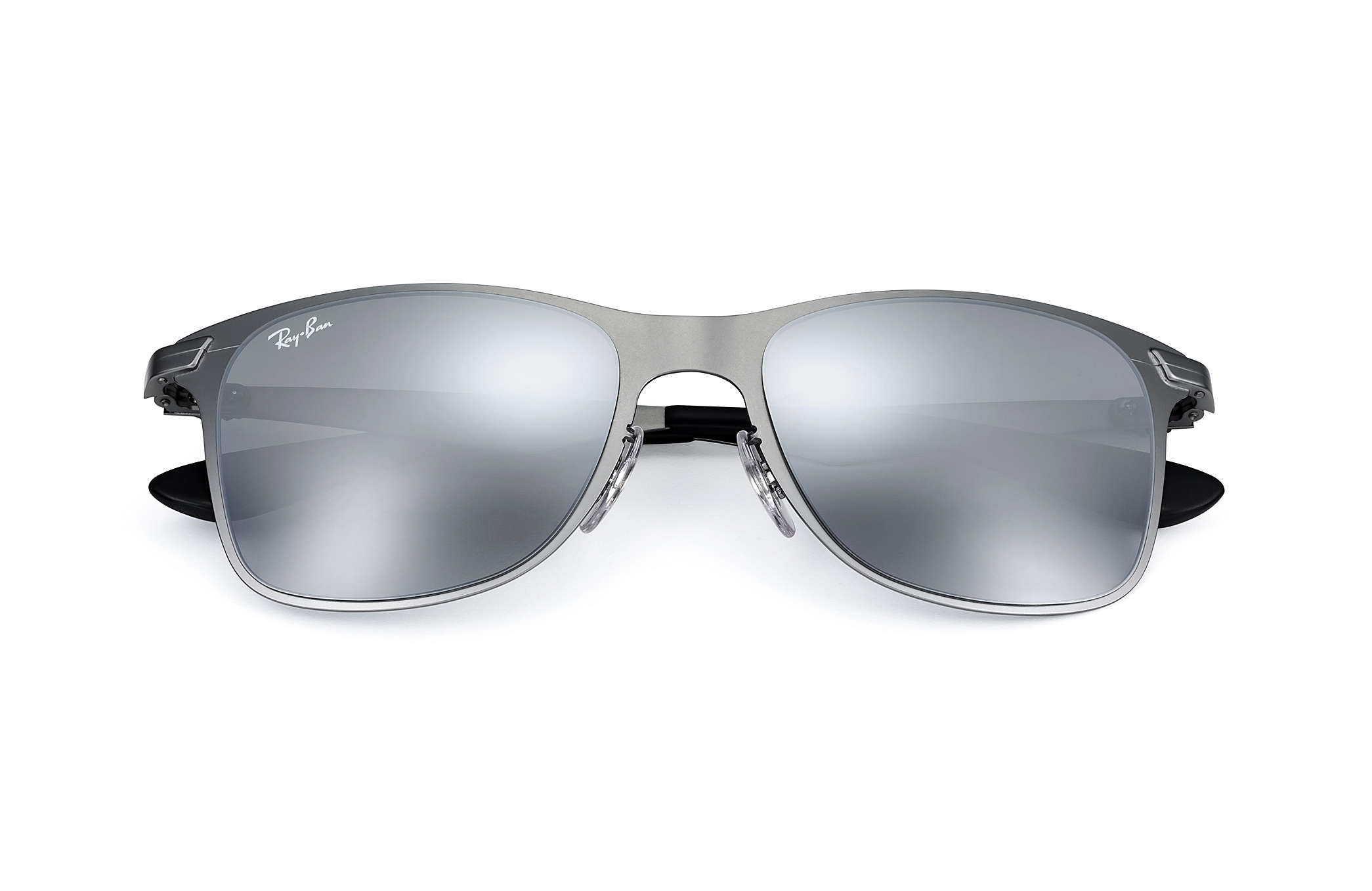 Ray Ban Wayfarer Flat Metal Matte Gunmetal Grey Silver Mirror Gradient