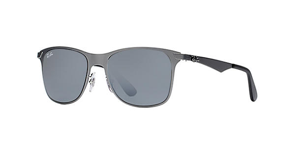 d168c332eea Ray-Ban Wayfarer Flat Metal RB3521 Gunmetal - Metal - Silver Lenses -  0RB3521029 8852