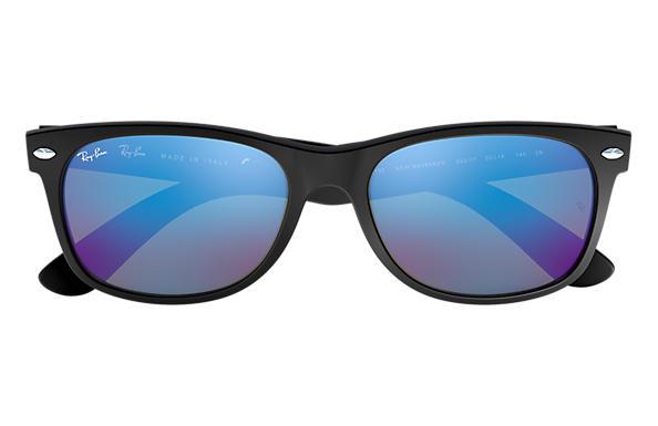 98669aa5f38 Ray-Ban New Wayfarer Flash RB2132 Black - Nylon - Blue Lenses ...