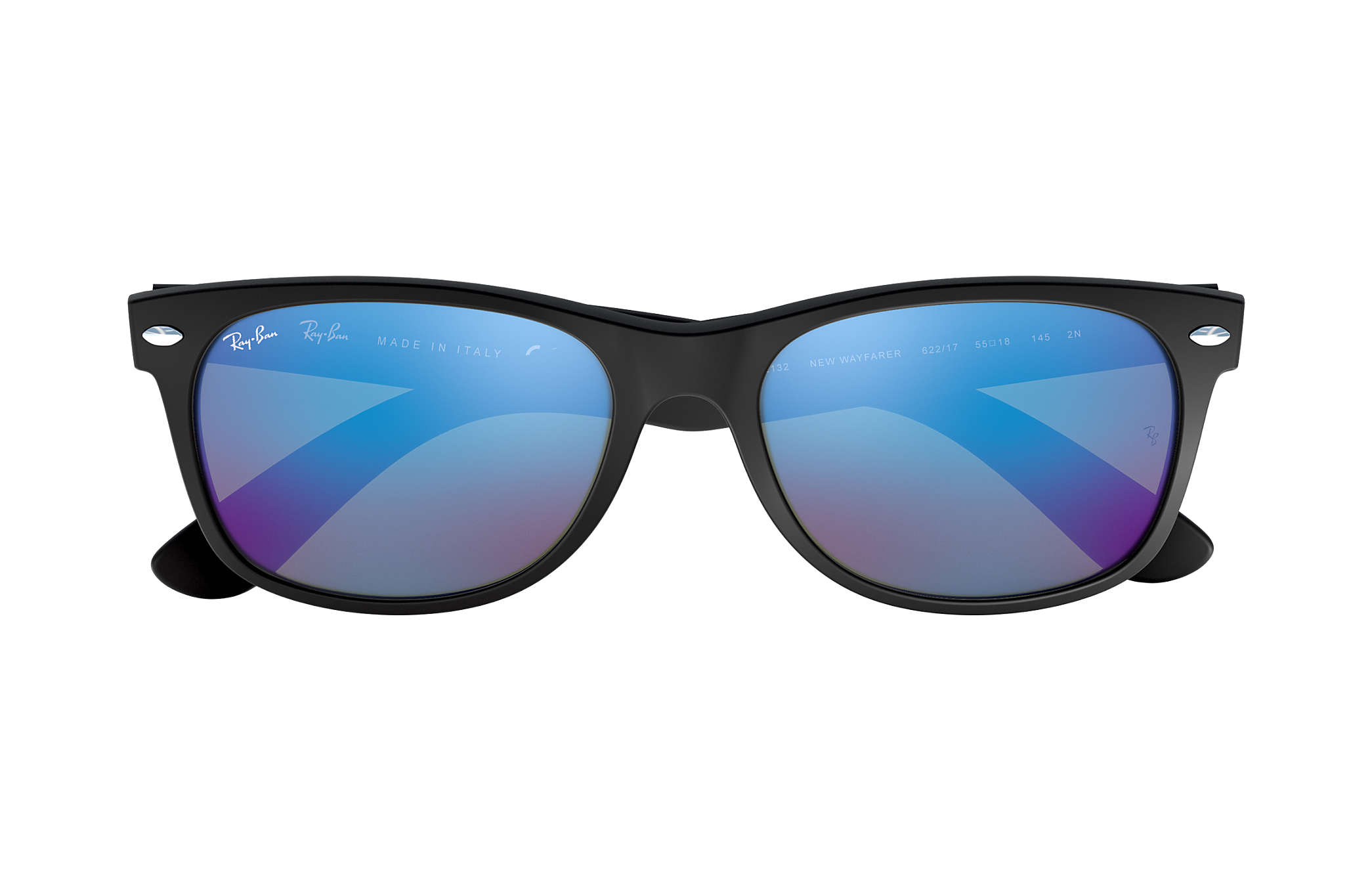 ffb4d579ff Ray-Ban New Wayfarer Flash RB2132 Black - Nylon - Blue Lenses ...