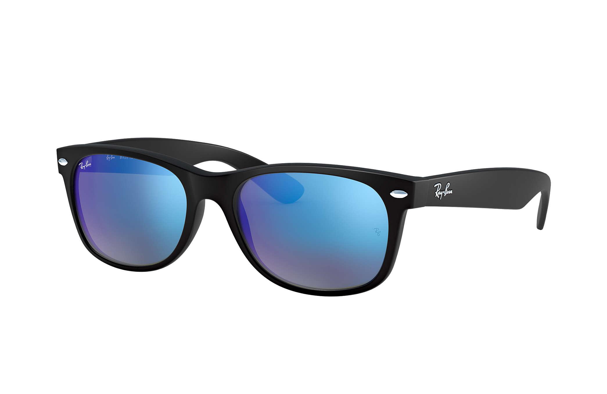 a32f79600 Ray-Ban New Wayfarer Flash RB2132 Black - Nylon - Blue Lenses ...