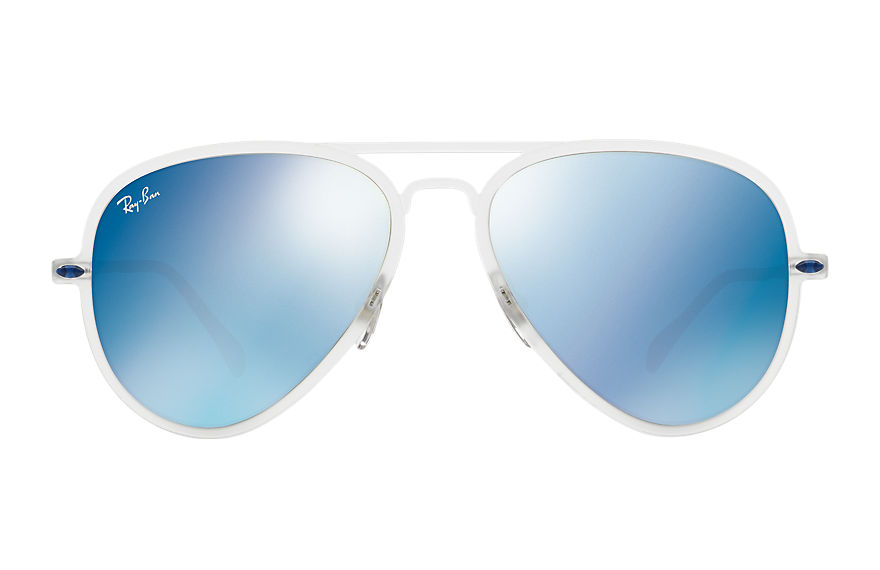 Ray-Ban AVIATOR LIGHT RAY II Transparent with Blue Mirror lens