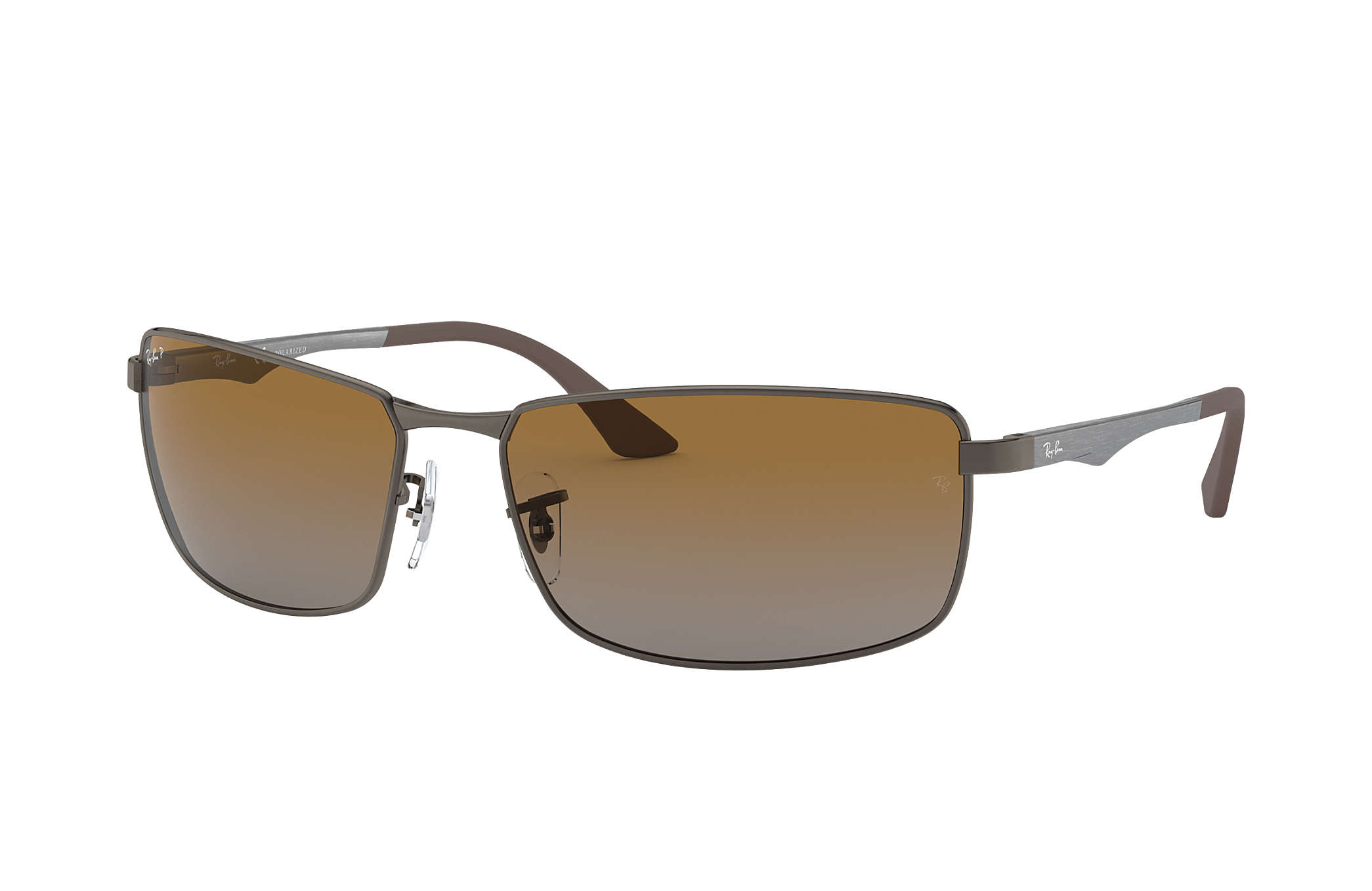 d26a1ee14a800 Ray-Ban RB3498 Gunmetal - Metal - Brown Polarized Lenses ...