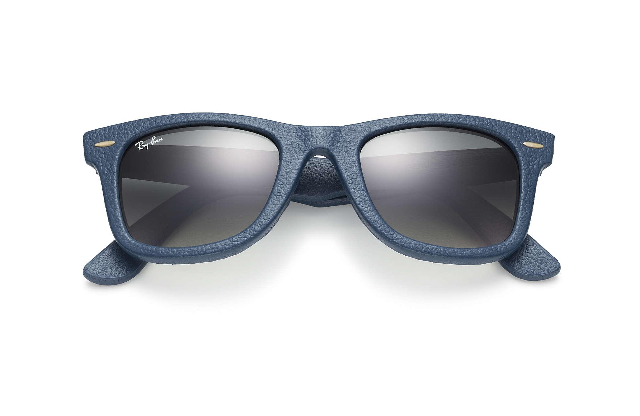 Wayfarer Leather Ray-Ban RB2140QM Bleu - Matériaux de luxe - Verres ... 92c00628f096