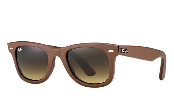 Ray-Ban 0RB2140QM-WAYFARER LEATHER Bronze-Copper,Brown; Bronze-Copper SUN