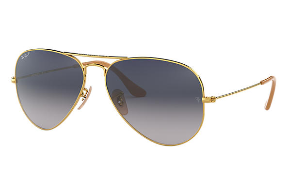 5c878551798c4d Ray-Ban Aviator Gradient RB3025 Gold - Metal - Blue Grey Polarized ...