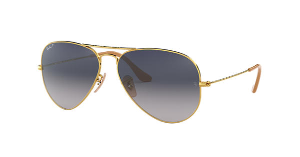 6b51873402f Ray-Ban Aviator Gradient RB3025 Gold - Metal - Blue Grey Polarized Lenses -  0RB3025001 7858