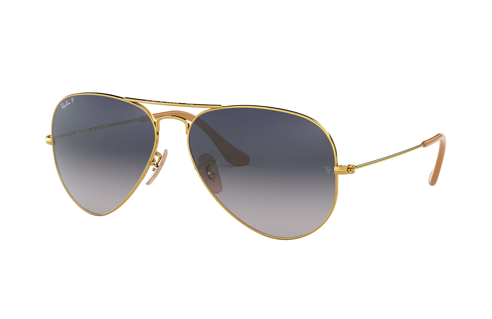12c62a0368878 Ray-Ban Aviator Gradient RB3025 Gold - Metal - Blue Grey Polarized ...