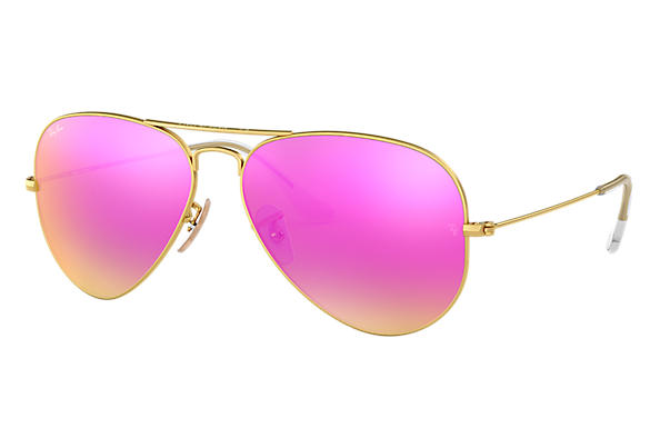 Ray Ban Aviator Flash Lenses Rb3025 Gold Metal