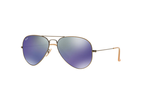 Ray-Ban Sunglasses AVIATOR FLASH LENSES Bronze-Copper with Blue Mirror lens