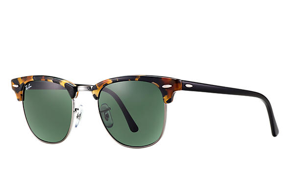 Ray-Ban Sunglasses CLUBMASTER FLECK Tortoise with Green Classic G-15 lens