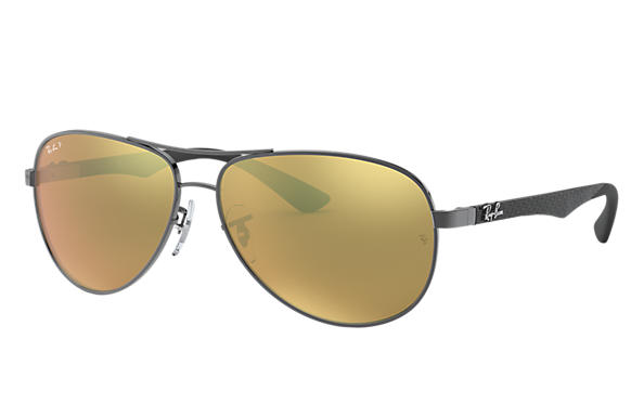 86a65585ce Ray-Ban RB8313 Gunmetal - Carbon Fibre - Gold Polarized Lenses ...