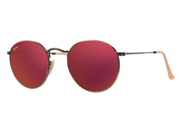 8f8f15faf86 Ray-Ban Round Flash Lenses RB3447 Bronze-Copper - Metal - Red Lenses ...