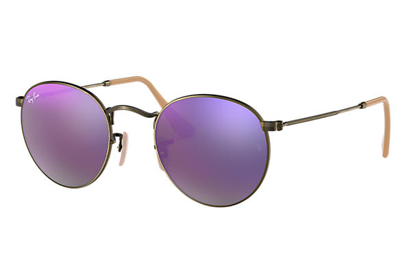 Ray-Ban 0RB3447-ROUND FLASH LENSES Bronzo-Rame SUN