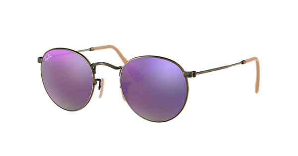1b59e50ad7 Ray-Ban Round Flash Lenses RB3447 Bronze-Copper - Metal - Lilac Lenses -  0RB3447167 4K50