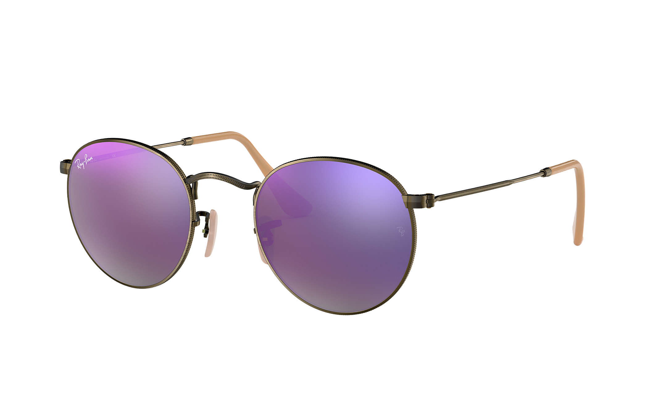 51a44071af Ray-Ban Round Flash Lenses RB3447 Bronze-Copper - Metal - Lilac ...