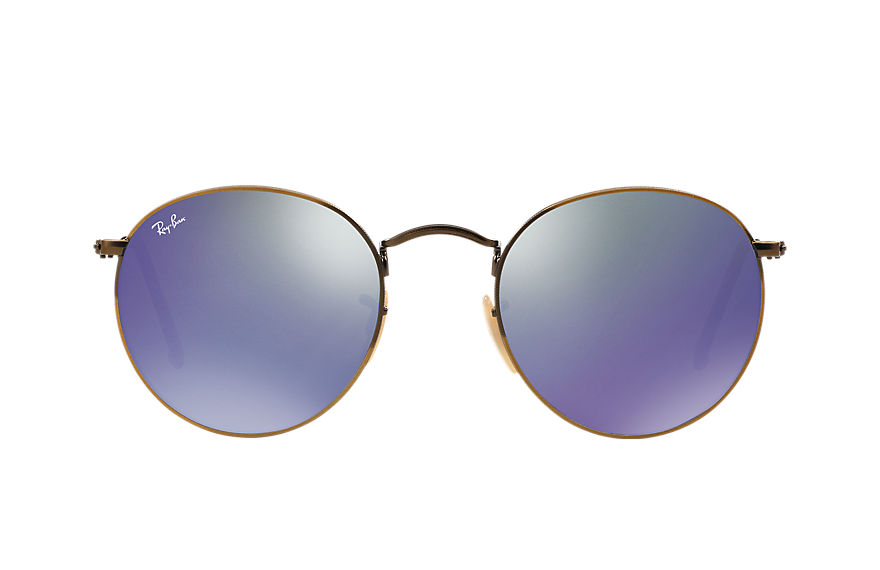 Ray-Ban Sunglasses ROUND FLASH LENSES Gold with Blue Flash lens